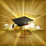 Graduation cap and diploma. Old style vector background Royalty Free Stock Image