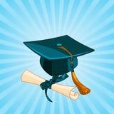 Graduation cap and diploma radial background Stock Photo
