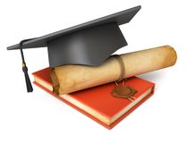 Graduation cap, diploma and red book Royalty Free Stock Image