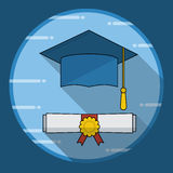 Graduation cap and diploma rolled scroll icon with long shadow Stock Photo