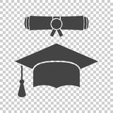 Graduation cap and diploma scroll icon vector illustration in fl. At style. Finish education symbol. Celebration element. Black graduation cap with diploma on Stock Photos