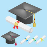 Graduation cap and diploma scroll Stock Image