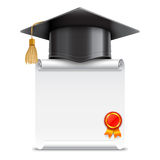 Graduation Cap and Diploma Scroll Stock Images