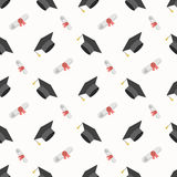 Graduation Cap and Diploma Seamless Pattern Background Stock Photography