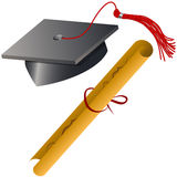 Graduation Cap and Diploma Set Stock Photography
