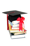 Graduation cap and diploma on stack of books