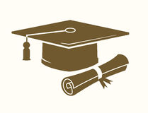 Graduation cap and diploma. Vector graduation cap and diploma icon on beige Royalty Free Stock Photography
