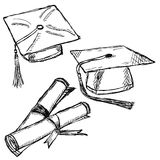 Graduation cap doodle Stock Photography