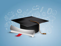Graduation Cap with Doodles Royalty Free Stock Images