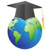 Graduation cap on earth Stock Photography