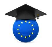 Graduation Cap with European Union Flag Royalty Free Stock Photo