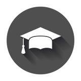 Graduation cap flat design icon. Finish education symbol. Graduation day celebration element with long shadow Royalty Free Stock Images