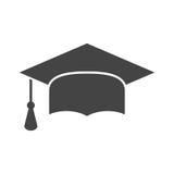 Graduation cap flat design icon. Finish education symbol. Gradua. Tion day celebration element. Graduation cap vector illustration on black background Royalty Free Stock Photography