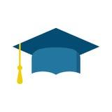 Graduation cap flat design icon. Finish education symbol. Gradua. Tion day celebration element. Graduation cap vector illustration on black background Royalty Free Stock Images