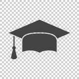 Graduation cap flat design icon. Finish education symbol. Gradua. Tion day celebration element. Vector illustration on isolated background Stock Photos