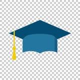 Graduation cap flat design icon. Finish education symbol. Gradua. Tion day celebration element. Vector illustration on isolated background Stock Image