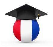 Graduation Cap with France Flag Stock Photo