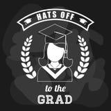 Graduation cap and girl icon. University design. Vector graphic Stock Photography