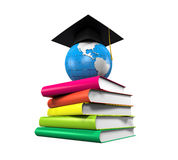 Graduation Cap, Globe and Books. Isolated on white background. 3D render Stock Photography