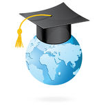 The graduation cap and globe icon. Mortar board and world vector  on white. Royalty Free Stock Images