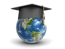 Graduation cap and Globe Royalty Free Stock Image