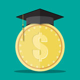 Graduation cap and gold coin Royalty Free Stock Photography