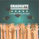 Graduation cap and hand  icon. University design. Vector graphic Stock Image