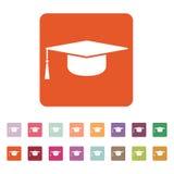 The graduation cap icon. Education symbol. royalty free illustration