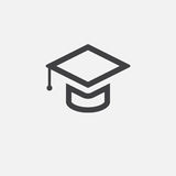 Graduation cap icon, logo illustration, group pictogram isolated on white. Royalty Free Stock Photo
