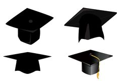Graduation cap icon on white. Background. Illustration royalty free stock photos