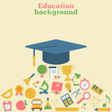 Graduation cap, icons of education. Graduation cap surrounded by icons of education. Education background. Concepts for web banners and print materials. Vector Royalty Free Stock Images