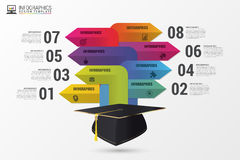 Graduation cap. Infographics with arrows. Modern template. Vector Royalty Free Stock Images