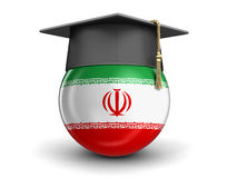 Graduation cap and Iranian flag Royalty Free Stock Photo