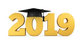 2019 Graduation Cap Isolated. On white background. 3D render royalty free illustration