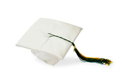 Graduation cap isolated on the white Stock Images