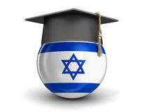 Graduation cap and Israeli flag Stock Image