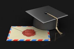 Graduation cap and letter with Wax Stamp Stock Photography