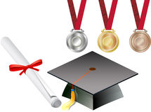 Graduation cap with medals Royalty Free Stock Photo