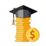 Graduation cap on money. Graduation cap on stack of coins. Flat style vector isolated illustration Stock Images