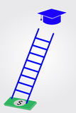 Graduation cap, money and stair Stock Photos