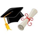 Graduation cap, mortarboard and Diploma. Vector Illustration of Graduation cap, mortarboard and Diploma Stock Image