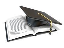Graduation cap on open blank notebook. 3D Royalty Free Stock Photo