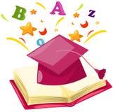 Graduation cap with open book Stock Image