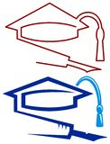 Graduation cap and pen. Isolated line art logo design Stock Photos