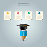 Graduation cap, pencil and note pad with timeline infographic. Education infographics template 4 step option. Graduation cap, pencil and note pad with timeline Stock Photo