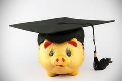 Graduation cap and piggy bank. A golden piggy  bank wearing a graduation cap Stock Images