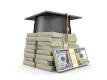Graduation cap and Pile of Dollars Stock Photo