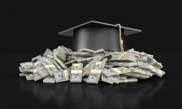 Graduation cap and Pile of Dollars Royalty Free Stock Photography