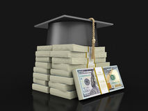 Graduation cap and Pile of Dollars Royalty Free Stock Images