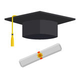 Graduation Cap and Rolled Diploma Vector Illustration. Graduation cap and rolled diploma scroll with stamp. Finish education concept. Flat style vector Stock Photography